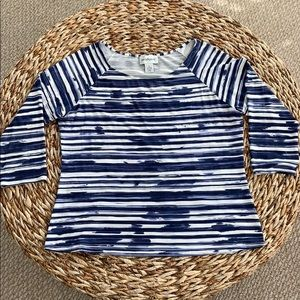 Peck & Peck Jagged Stripe 3/4sl Top szXL